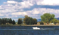 Boating on Jensen Lake in Blackfoot Idaho