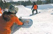 Snowboarding in Pebble Creek's Terrain Park