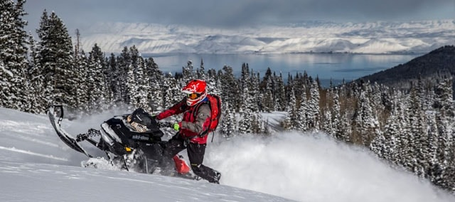 Snowmobiling in the mountains above Bear Lake